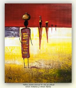poza După apă (2) - pictura africana ulei pe panza 60x50cm