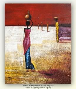 poza După apă (4) - pictura africana ulei pe panza 60x50cm