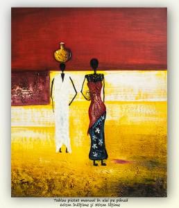 poza După apă (5) - pictura africana ulei pe panza 60x50cm