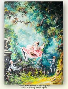 poza Balansoarul - ulei pe panza 70x50cm, repro Jean-Honoré Fragonard, Superb!