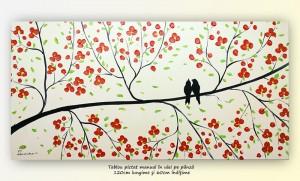 poza Tril de primavara (1), tablou modern ulei pe panza de in 120x60cm, Superb!