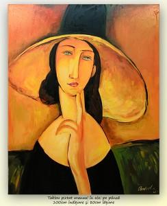 poza Femeie cu palarie - tablou ulei pe panza 100x80cm - repro Amedeo Modigliani, Superb!