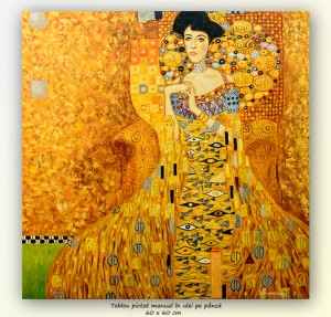 poza Portretul Adelei Bloch-Bauer I - pictura ulei pe panza 60x60cm, repro Gustav Klimt, Magistral!