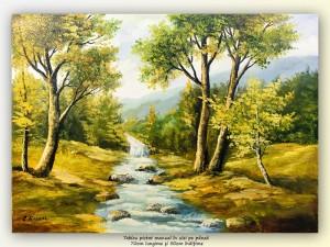 poza La pârâu - pictura ulei pe panza 70x50cm, Superb!