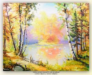 poza Lacul lebedelor (3) - pictura living ulei pe panza, 100x80cm, Magnific