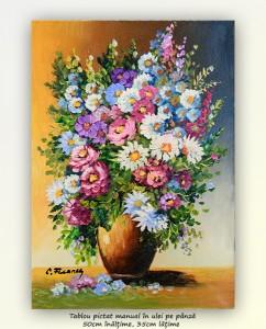 poza Simfonie florala (12) - pictura ulei pe panza 50x35cm, Superb@