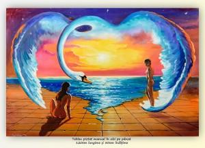 poza Pe aripile iubirii - pictura ulei pe panza 120x80cm, Superb!