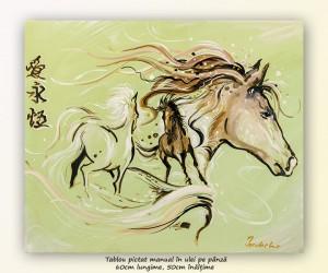 poza Asian horses (2) - 60x50cm pictura ulei pe panza, Magnific!