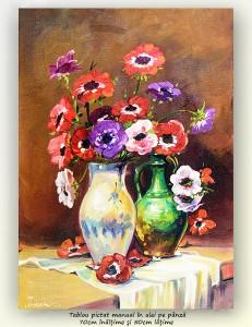 poza Anemone (2) - pictura ulei pe panza, 70x50cm, repro Stefan Luchian, Superba!