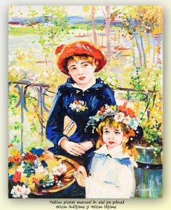 poza Doua surori pe terasa - 50x40cm ulei pe panza de in, repro Renoir