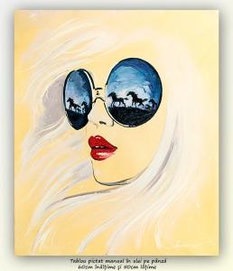 poza Cai in galop - 60x50cm, tablou modern ulei pe panza, Superb!