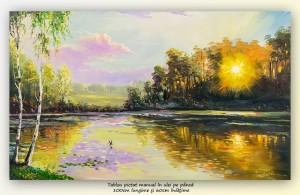 poza Tablou peisaj feeric, apus de soare - 100x60cm pictura in ulei pe panza, Magistral!