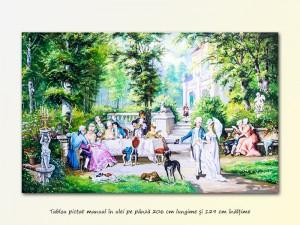 poza Tablou GIGANT - Petrecere la palat - 206x129 cm pictura ulei pe panza, MAGISTRAL!