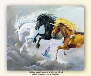 poza Cai in galop, fantastic unicorn - 60x50cm ulei pe panza, Magistral!