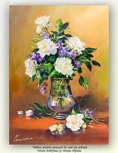 Poza Eleganta in alb - 70x50cm pictura ulei pe panza, Magistral