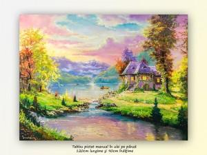 Poza Tablou GIGANT living, dormitor - La casa de langa lac - 120x90cm ulei pe panza, Magnific!