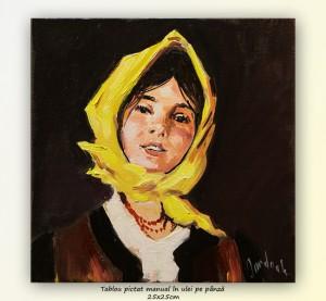 poza Țărăncuță cu basma galbenă - 25x25cm ulei pe panza, repro N. Grigorescu, Superb!