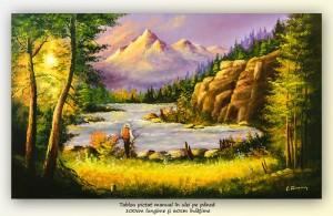 poza Peisaj montan cu pescar - pictura 100x60cm ulei pe panza, Magnific!