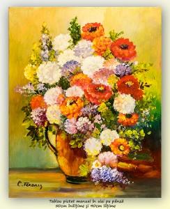 poza Bucurie florala (19) - 50x40cm pictura ulei pe panza, Superb@