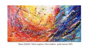 poza Tablou GIGANT living, dormitor - Improvizatie abstracta (5) - 140x70cm ulei pe panza, Spectaculos!