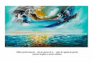 poza Tablou living, birou - Peisaj marin modern abstract (4) - 120x60cm ulei pe panza, Spectaculos!