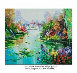 poza Podul japonez (2) - 60x50cm pictura ulei pe panza, repro Claude Monet