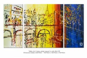 Poza Peisaj citadin modern 3 piese - La Paris - 160x90cm ulei pe panza, Spectaculos!