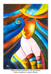 poza Another woman_s face (4) - 90x60cm  tablou cubist ulei pe panza, superb!