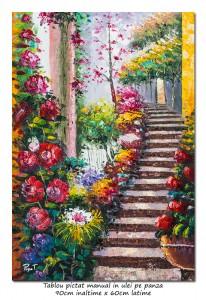 poza Pasaj cu flori (2) - 90x60cm pictura ulei pe panza in cutit efect 3D, Superba!