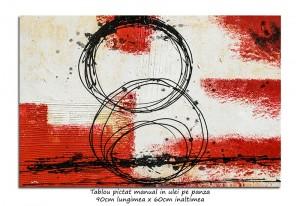 Poza Incursiune spatiala (4) - tablou abstract 90x60cm ulei pe panza in relief, Magistral
