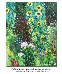 poza Floarea soarelui in gradina - 90x70cm ulei pe panza, repro Gustav Klimt