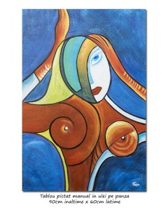 poza Another woman_s face (2) - 90x60cm  tablou cubist ulei pe panza, superb!