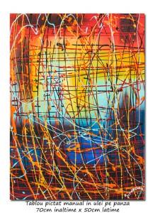 poza Calatorie in spatiu (6) - 70x50cm tablou abstract ulei pe panza, Spectaculos!