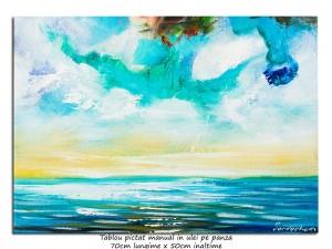 poza Calatorie in spatiu (9) - 70x50cm tablou abstract ulei pe panza, Spectaculos!