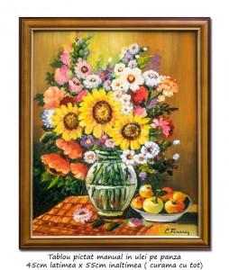 Poza Aranjament cu floarea soarelui, maci, margarete si mere - 55x45cm cu rama, ulei pe panza, Magnific!