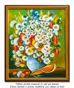poza Ulcica cu margarete si maci - 65x55cm cu rama, pictura ulei pe panza, Magistral!