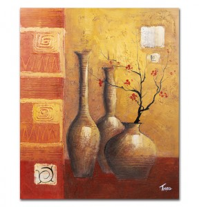 poza Aranjament japonez  - pictura natura statica 60x50cm, ulei pe panza in relief, Superb@