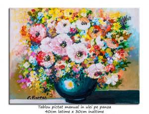 Poza Fantezie florala (3) - 40x30cm pictura ulei pe panza, Magnific!