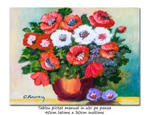 poza Fantezie florala (6) - 40x30cm pictura ulei pe panza, Magnific!