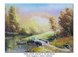 poza Liniste deplina - 70x50cm pictura cu pescar, ulei pe panza, Superb!