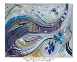 poza Magnolii deco - 50x40cm tablou modern ulei pe panza, Superb!