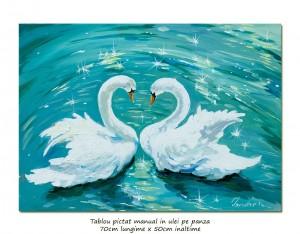 poza Lebede (2) - 70x50cm pictura ulei pe panza, Magnific!