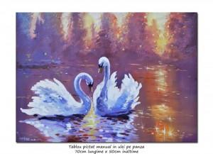 poza Lebede gratioase - 70x50cm pictura ulei pe panza, Magnific!