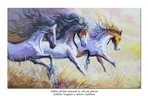 poza Tablou cai in galop - LIBERTATE - 100x60cm ulei pe panza, Spectaculos!