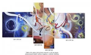 poza Tablou abstract 4 piese - Confluente - ulei pe panza 160x80cm, Magistral