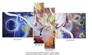 Poza Tablou abstract 4 piese - Confluente - ulei pe panza 160x80cm, Magistral