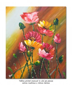 poza Aranjament floral modern in cutit (2) - 60x50cm ulei pe panza, Superb!