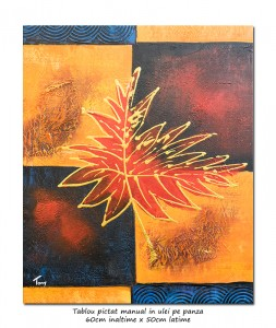 poza Tablou modern abstract - Frunza (4) - 60x50cm ulei panza in relief, Superb!