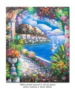 poza Peisaj feeric mediteranean (1) - 60x50cm ulei pe panza in cutit efect 3D, Superb!