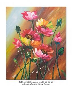 Aranjament floral modern in cutit  - 60x50cm ulei pe panza, Superb!